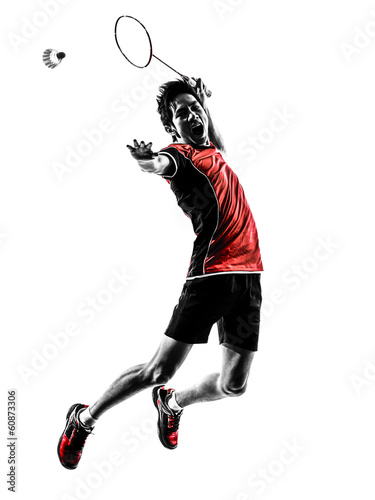 badminton player young man silhouette Canvas Print