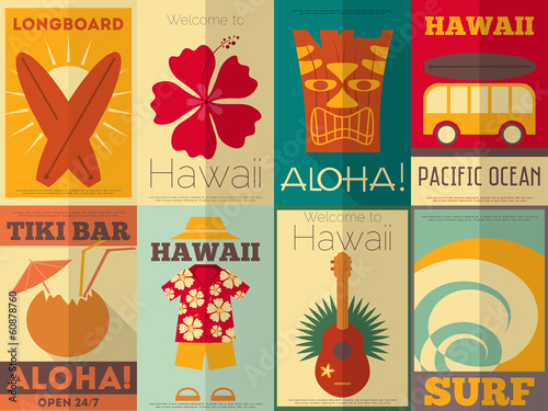 Fotografia, Obraz  Retro Hawaii posters collection