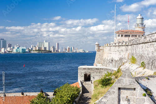 The lighthouse of El Morro with the Havana skyline Wallpaper Mural