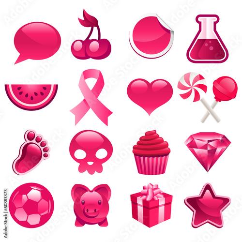 Foto op Aluminium Pixel Various set of pink icons