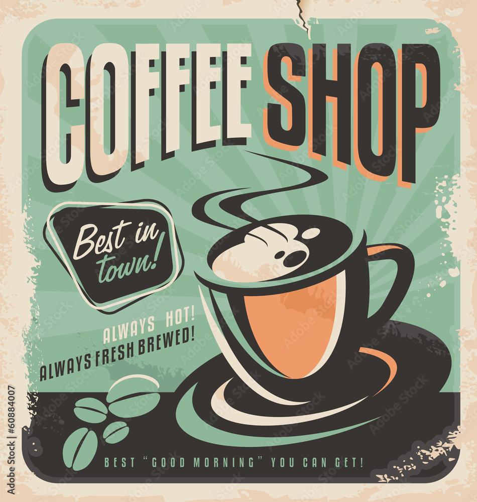 Vintage Retro Coffee Self Adhesive Vinyl Sticker