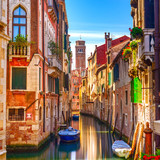 Venice cityscape, water canal, campanile church and traditional - 60887753
