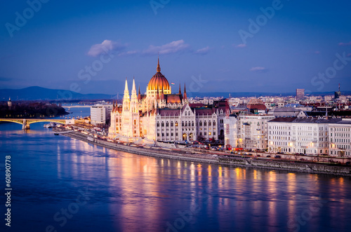 Budapest, Parliament at night Wallpaper Mural