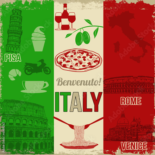 Canvas-taulu Italy travel poster