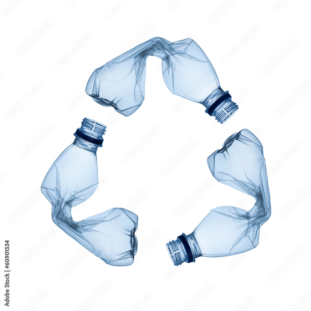 Fototapeta Concept of recycle.Empty used plastic bottle on white background
