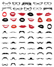 Big Set Of Silhouettes Of Mustaches, Glasses And Lips-vector
