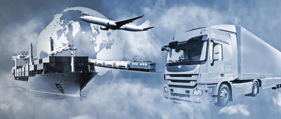 Fototapeta Transport mit LKW, Schiff, Flugzeug und Bahn