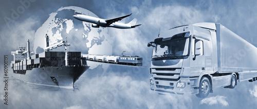 Poster Voies ferrées Transport mit LKW, Schiff, Flugzeug und Bahn