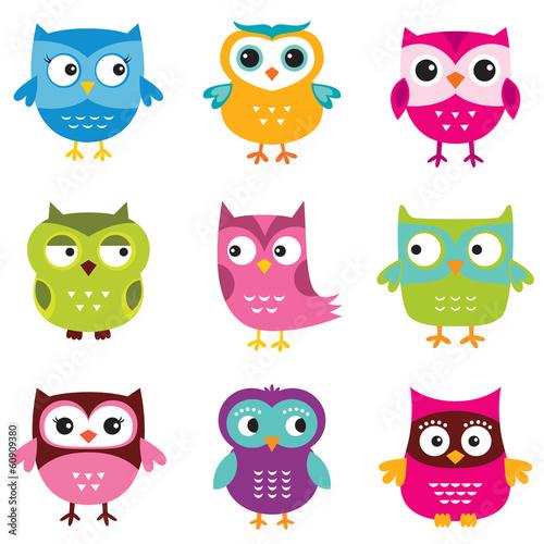 Poster Uilen cartoon Owls set