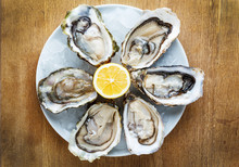 Fresh Oysters In A White Plate...