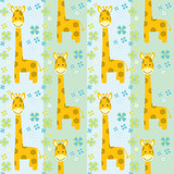 vector seamless pattern with giraffes