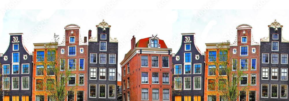 Valokuva  Amsterdam . traditional houses border