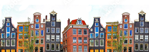 Poster Amsterdam Amsterdam . traditional houses border