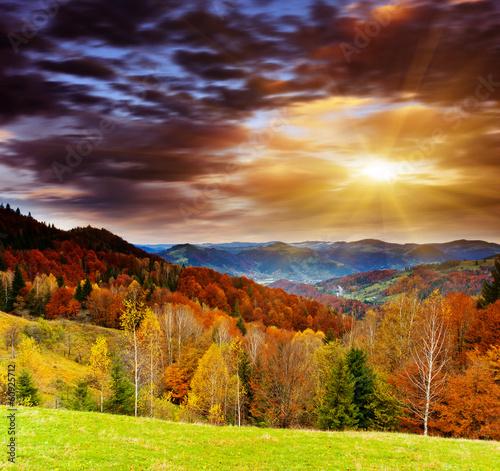 Garden Poster Brown mountain landscape