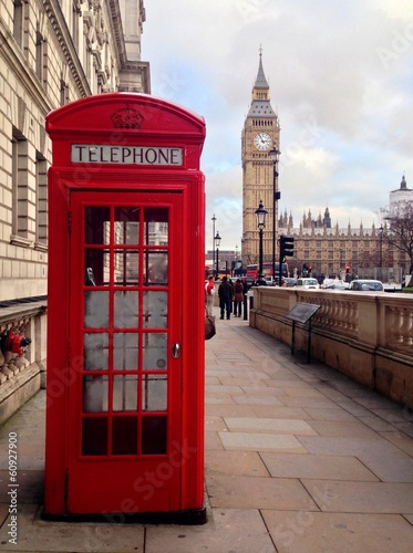 Türaufkleber London roten bus Red Telephone Booth and Big Ben in London, UK.