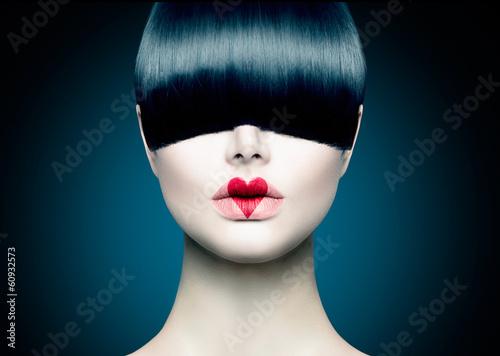 Poster - High Fashion Model Girl Portrait with Trendy Fringe