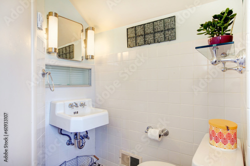 White Bathroom Decorated With Flower Pot And Rustic Hanger Buy