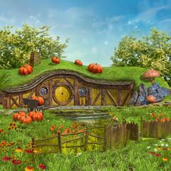 Fototapeta Łąka Zaczarowany domek na łące z kwiatami