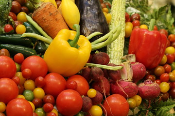 variety fruit and vegetable background