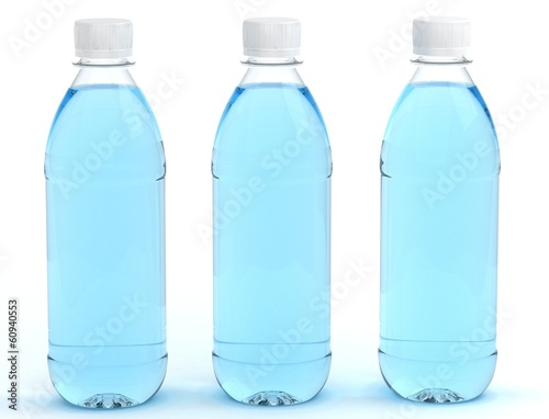 Foto op Canvas Water Bottles of water isolated on white background