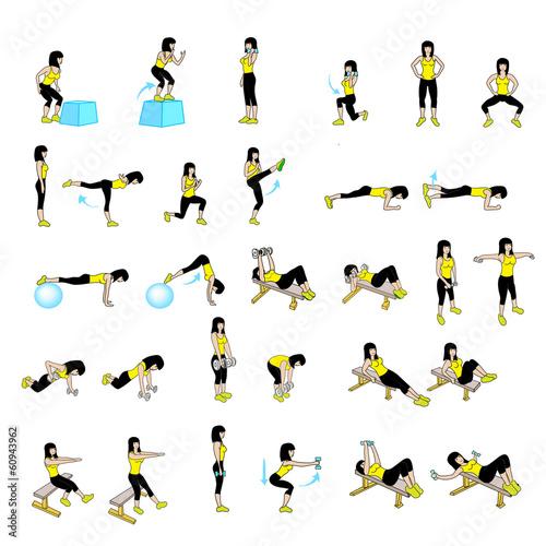 Cadres-photo bureau Gymnastique Fitness Exercises Set