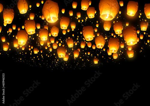 Chinese Fly Lanterns Canvas Print