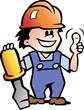 Hand-drawn Vector illustration of an Happy Mechanic Handyman