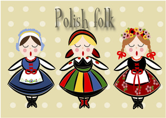 Traditional Polish Costume - Vector.