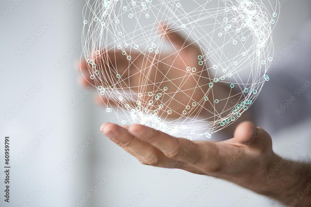 Obraz network holding in hand 3d connection data fototapeta, plakat