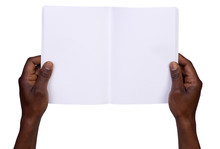 Man Holding Blank Notebook Isolated On White