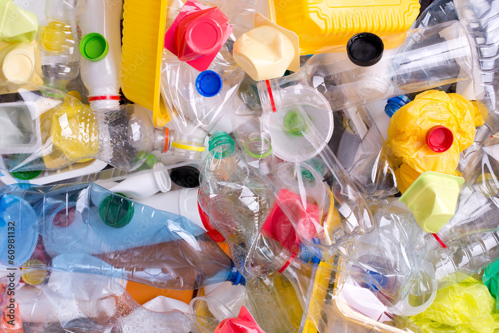 Fototapeta Plastic bottles and containers prepared for recycling