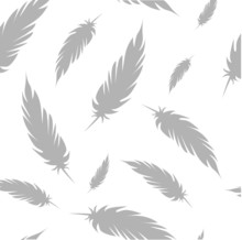 White Pattern With Grey Feathers Vector