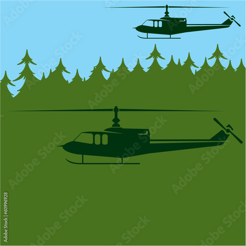 Military choppers Air Patrol vector Wallpaper Mural