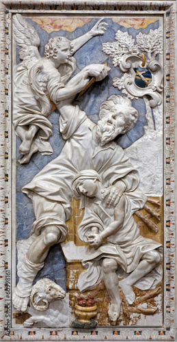 Foto  Palermo - Baroque relief of Abrahams proof in st. Katherine