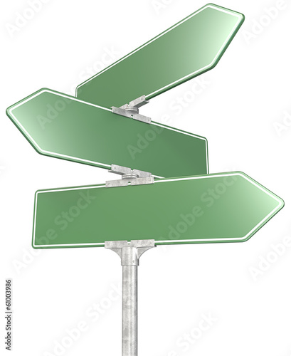 Road sign. 3 way green road sign post.Blank and Isolated.