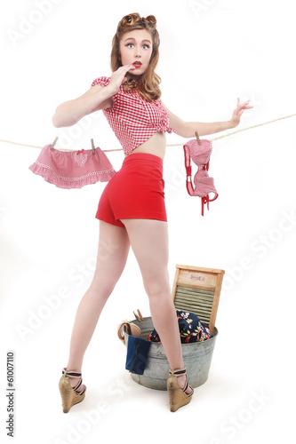Photo  Beautiful Retro Pinup Girl in Sexy Pose