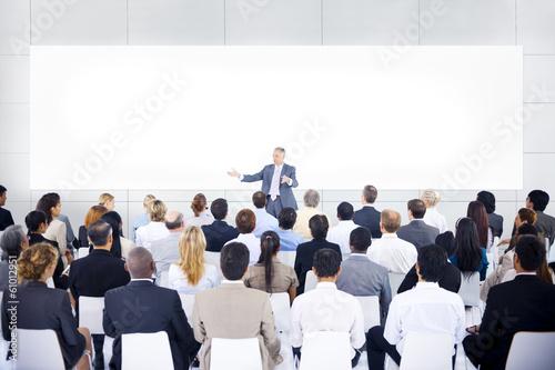 Fototapeta Large group of business people in presentation. obraz