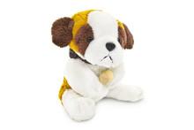 Plush Dog Toy Isolated On A White Background.