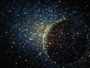 FototapetaStars clusters on the background of vast cosmic sphere.
