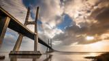 Vasco da Gama Bridge over the Tagus river. Lisbon, Portugal.