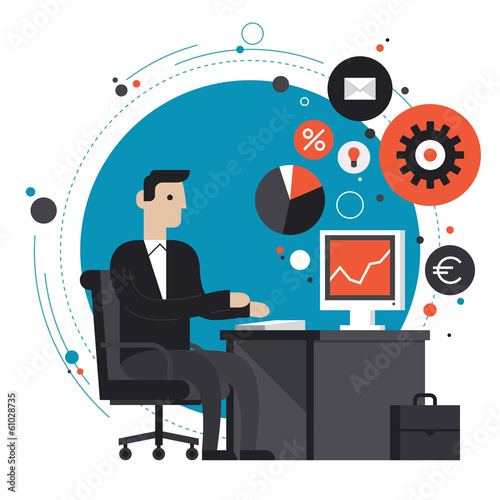 Fotografía  Businessman in the office flat illustration