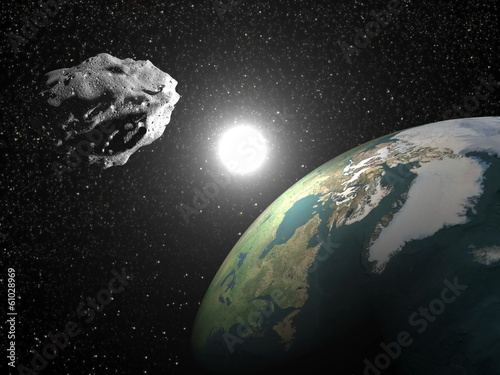 Photo Asteroid near earth - 3D render