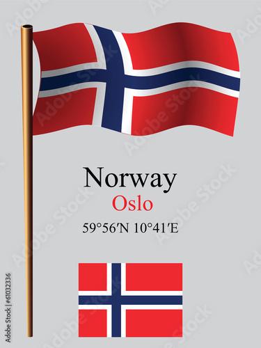 Photo  norway wavy flag and coordinates