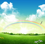Fototapeta Tęcza - Parco primaverile con arcobaleno