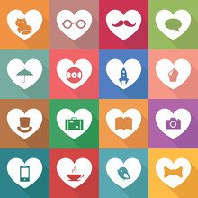 Vector Set Of Multicolor Heart...
