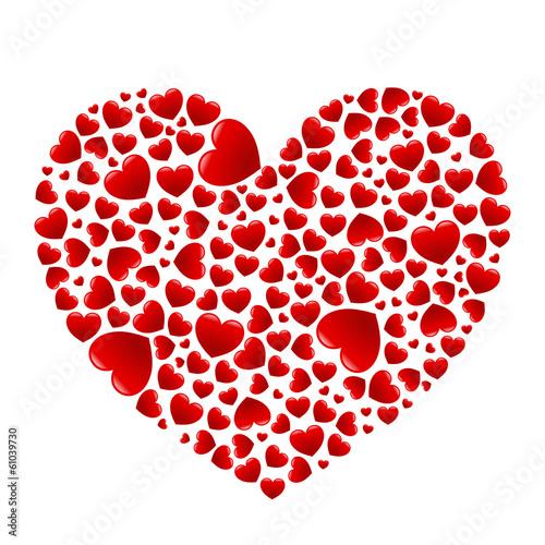 Herz aus vielen glänzenden roten Herzen - Vektor, freigestellt Stock-Vektorgrafik   Adobe Stock