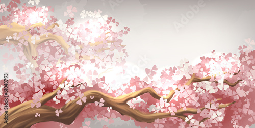 Sakura branch blooming Poster