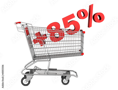 Fotografia  shopping cart with plus 85 percent sign isolated on white backgr
