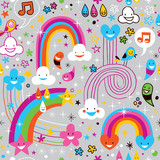 clouds rainbows rain drops fun pattern