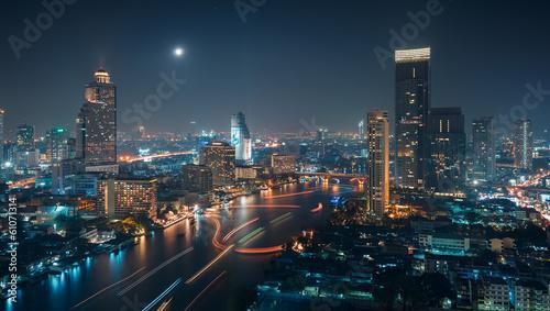Poster Bleu nuit Bangkok, Thaïlande, fleuve Chao Phraya